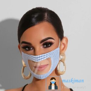 خرید ماسک پارچه ای با طلق شیشه ای شفاف در جلوی دهان 2