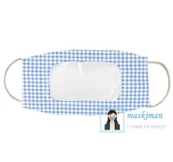 خرید ماسک پارچه ای با طلق شیشه ای شفاف در جلوی دهان 3