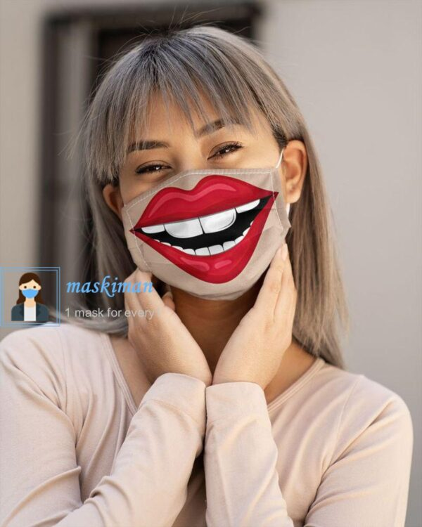 خرید ماسک پارچه ای طرح لبخند بزرگ