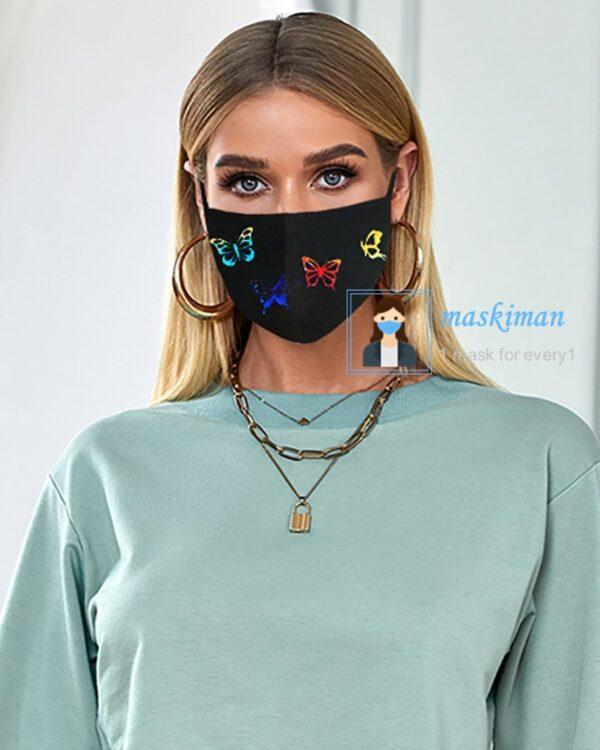 ماسک پارچه ای طرح پروانه 2